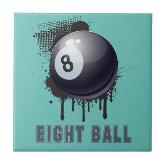 Abstrakter TinteSplotch mit BILLARD-Ball und TEXT Keramikfliese