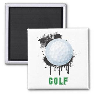 Abstrakter TinteSplotch mit GOLF-Ball und TEXT Quadratischer Magnet