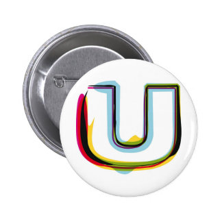 Abstrakter und bunter Buchstabe U Runder Button 5,1 Cm