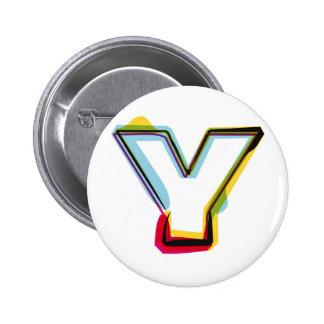Abstrakter und bunter Buchstabe Y Runder Button 5,7 Cm