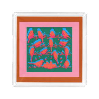 Abstrakter Vogel-Behälter Acryl Tablett