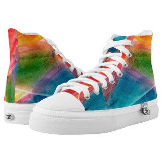 Abstrakter Watercolor-Regenbogen-hohe Hoch-geschnittene Sneaker