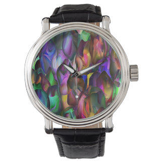 Abstrakter Watercolorentwurf im Juwel tont auf Uhr