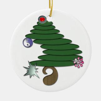 Abstrakter Weihnachtsbaum Rundes Keramik Ornament