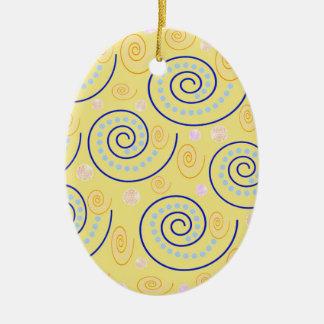 Abstrakter Wirbel auf Gelb Keramik Ornament