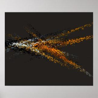 Abstrakter zeitgenössische Kunst-Goldbrown-Wirbel Posterdrucke