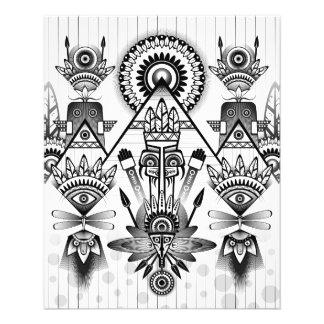 Abstraktes altes gebürtiges indisches Stammes- 11,4 X 14,2 Cm Flyer