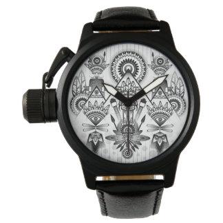 Abstraktes altes gebürtiges indisches Stammes- Uhr