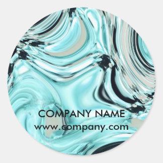 abstraktes Aqua blauer Watercolor-Salon Runder Aufkleber