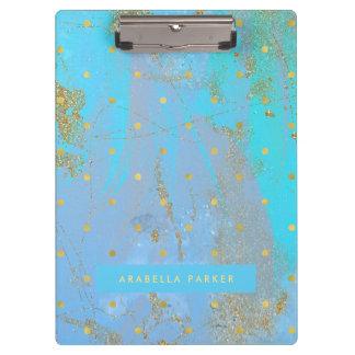 Abstraktes aquamarines Blau mit Imitat-Goldpunkten Klemmbrett
