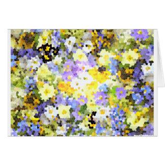 Abstraktes beflecktes Glas-Frühlings-Blumen-Gelb Karte