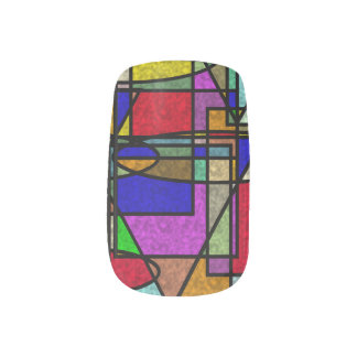 Abstraktes beflecktes Glas Minx Nagelkunst