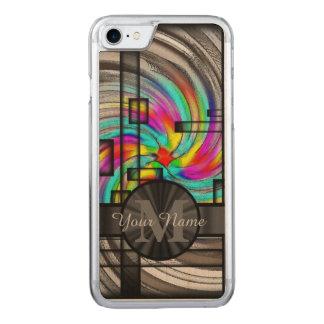 Abstraktes beflecktes Glas und Monogramm Carved iPhone 8/7 Hülle