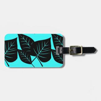 Abstraktes Blätter, schwarz auf Aqua, Gepäckanhänger
