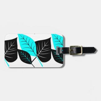 Abstraktes Blätter, Schwarz-weißes Aqua, Gepäckanhänger