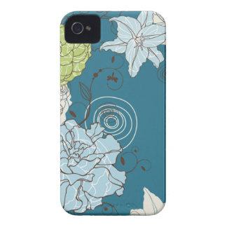 Abstraktes blaues Blumen Case-Mate iPhone 4 Hüllen