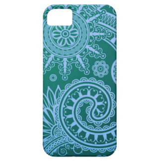 Abstraktes blaues Blumenmuster iPhone 5 Cover