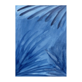 Abstraktes blaues Strahln-Malen Acryl Wandkunst