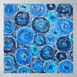 Abstraktes blaues und silbernes Kreis-Plakat