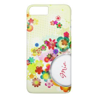 abstraktes Blumenmuster mit Rahmen für Namen iPhone 8 Plus/7 Plus Hülle