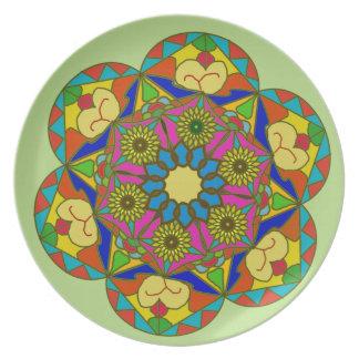 Abstraktes buntes Blumenzeichnen Melaminteller