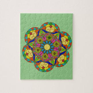 Abstraktes buntes Blumenzeichnen Puzzle