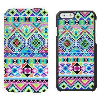 Abstraktes buntes gebürtiges aztekisches Stammes- Incipio Watson™ iPhone 6 Geldbörsen Hülle