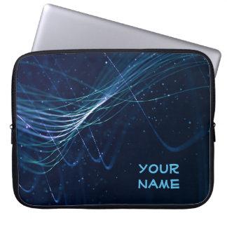 Abstraktes dunkelblaues mit kundengerechtem Namen Laptopschutzhülle