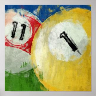 Abstraktes elf und ein Ball-Billard Poster