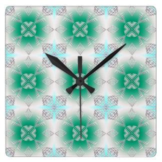 abstraktes ethnisches geometrisches aquamarines quadratische wanduhr