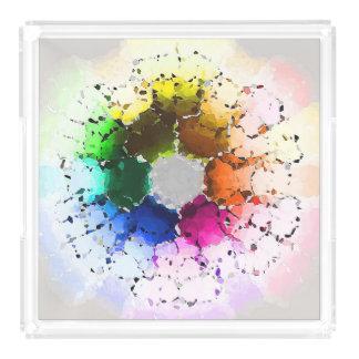Abstraktes Farbrad Acryl Tablett