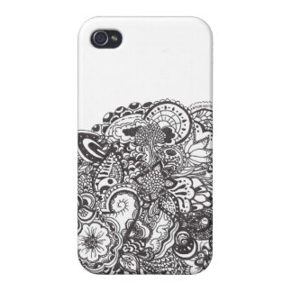 Abstraktes Federgekritzel iPhone 4 Case