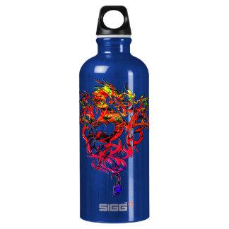 Abstraktes Feuer, das Stammes- Drachen atmet Wasserflasche