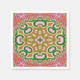 Abstraktes Fraktal-Kunst-Rosa und Grün Serviette