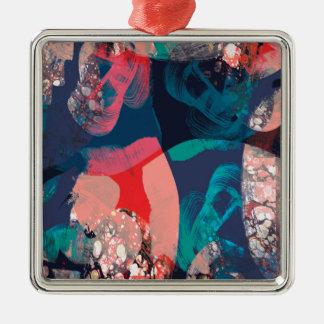 Abstraktes gemarmort quadratisches silberfarbenes ornament