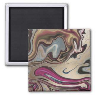 Abstraktes gemarmortes Imitat-Goldmagentarotes Quadratischer Magnet