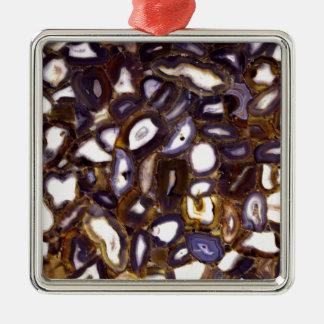Abstraktes Geodes Silbernes Ornament