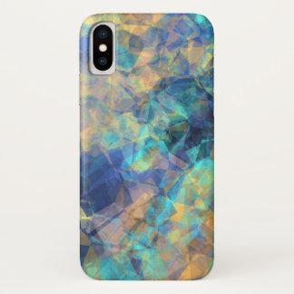 Abstraktes geologisches Kristallmuster-blaues iPhone X Hülle