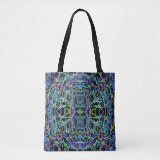 Abstraktes geometrisches in Grünem, lila, blau, Tasche