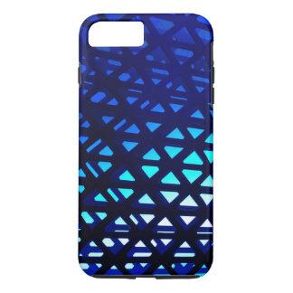 Abstraktes geometrisches Muster-blaues Glühen iPhone 8 Plus/7 Plus Hülle