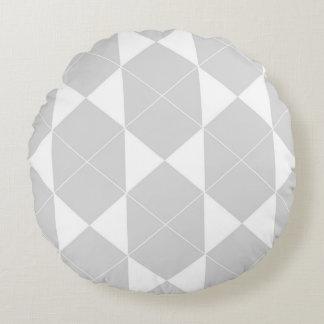 Abstraktes geometrisches Muster - Grau und Weiß Rundes Kissen