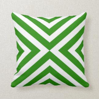 Abstraktes geometrisches Muster - Grün und Weiß Kissen