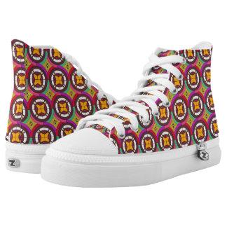 Abstraktes geometrisches retro nahtloses Muster Hoch-geschnittene Sneaker