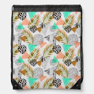 Abstraktes geometrisches tropisches Blatt-Muster Turnbeutel