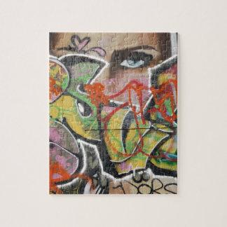 abstraktes Gesicht der Graffitikunstwandtextart Puzzle