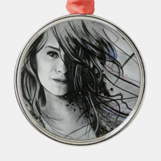 Abstraktes Gesicht Silbernes Ornament