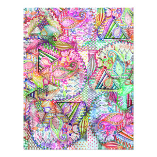 Abstraktes Girly Neonregenbogen-Paisley-Skizze-Mus 21,6 X 27,9 Cm Flyer