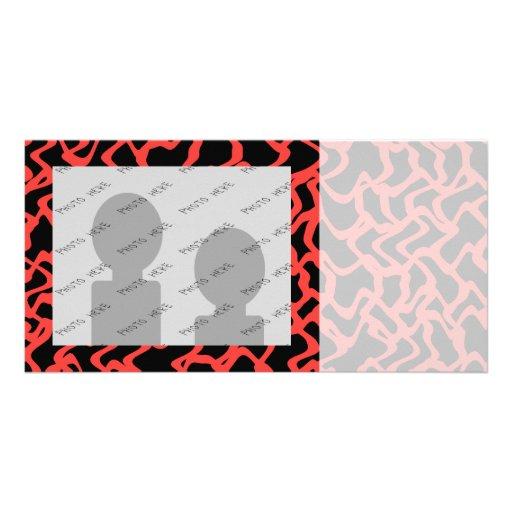 Abstraktes grafisches Muster-helles Rotes und schw Personalisierte Photo Karte