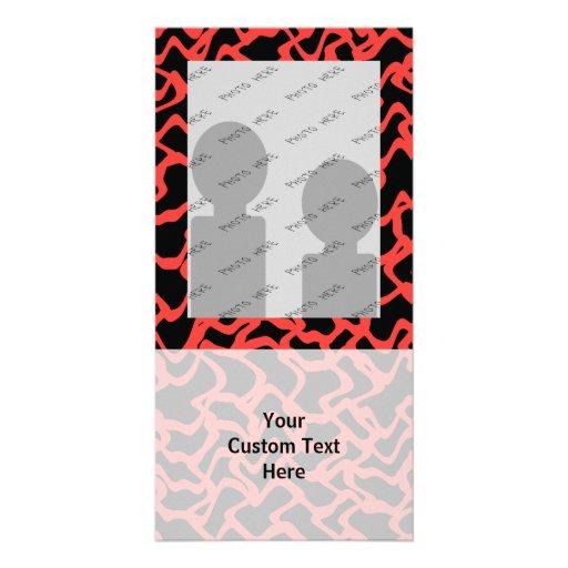 Abstraktes grafisches Muster-helles Rotes und schw Individuelle Foto Karten