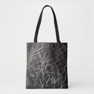 Abstraktes Gras auf Bau-Zaun Tasche
